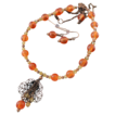 Frosted Orange Lucite, Swarovski and Copper Hand Wire Wrapped Necklace and Earring Set