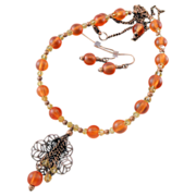 SALE Frosted Orange Lucite, Swarovski and Copper Hand Wire Wrapped Necklace and Earring Set