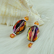Swarovski Crystal Volcano Oval Earrings w Sterling Silver Earwires