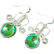 SALE Fountain of Youth Swarovski Crystal Rivoli Ultra Green AB Hand Wire Wrapped Earrings w/St