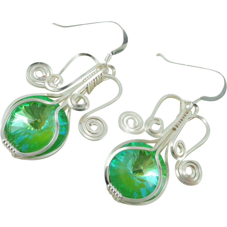 Fountain of Youth Swarovski Crystal Rivoli Ultra Green AB Hand Wire Wrapped Earrings w/Sterling