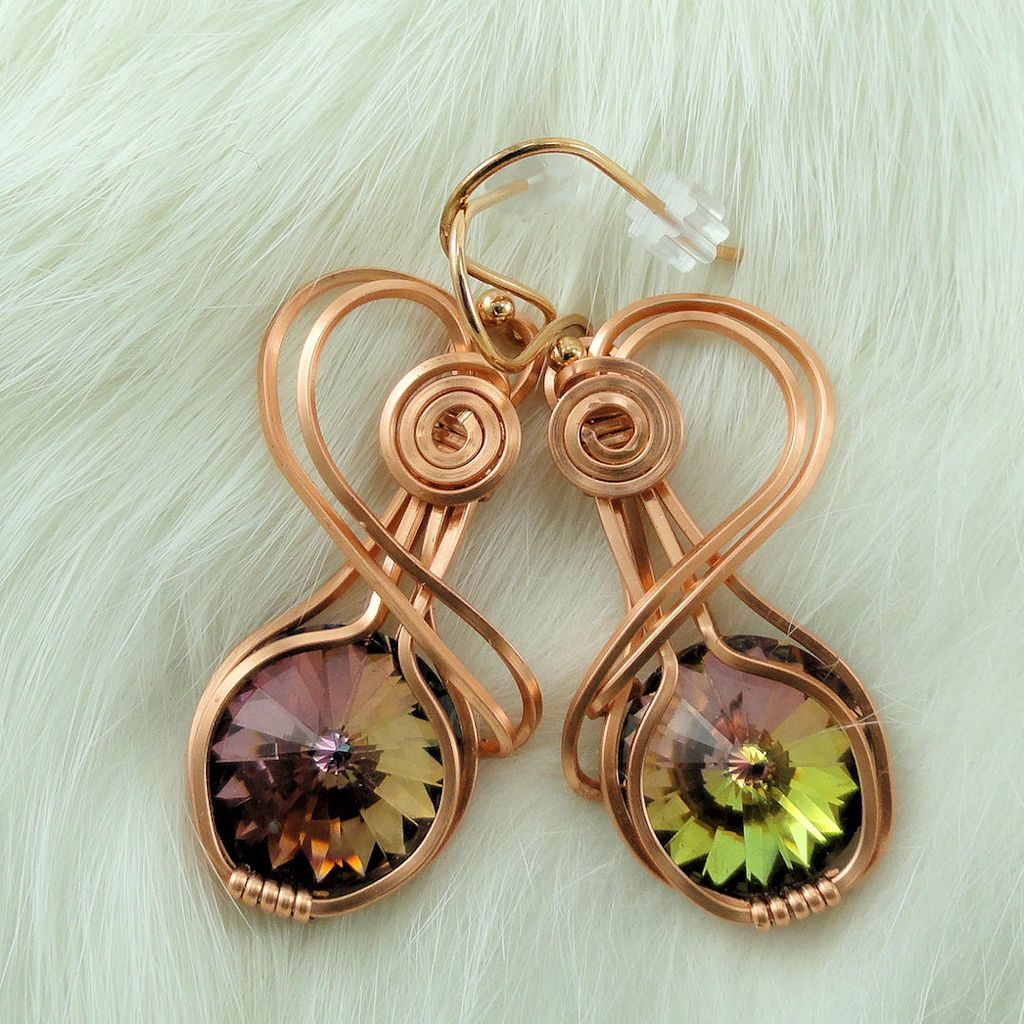 Swarovski Crystal Tabac Rivoli Hand Wire Wrapped Copper Rose Gold Earrings