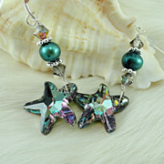 Swarovski Crystal Blue Vitrail Light Starfish w Sterling Silver Earwires
