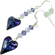 Swarovski Tanzanite and Cyclamen Opal Wild Heart Crystal Earrings w Sterling Silver Earwires