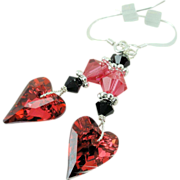 Swarovski Indian Pink Rosaline Wild and Jet Heart Earrings on Sterling Silver Earwires