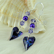 Swarovski Tanzanite Wild Heart Crystal and Glass Pealr Earrings w Sterling Silver Earwires