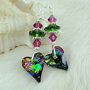Swarovski Electra Wild Heart Earrings with Fuscia, Fern, and Sterling Silver