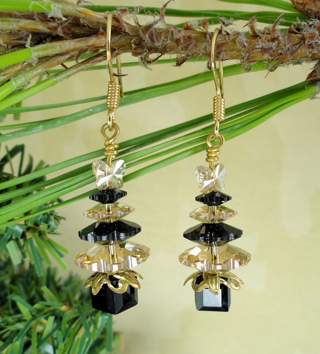 NFL New Orleans Saints inspired Swarovski Crystal Christmas Tree Earrings 14KGP Earrings