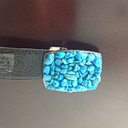 Turquoise Belt Buckle w Leather Belt