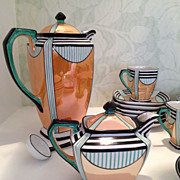 SOLD Noritake Art Deco Geometric Lusterware Coffee/tea set