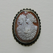 Edwardian Day and Night Shell Cameo Pearl Enameled 14k Brooch Pendant
