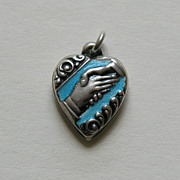 Vintage Enameled Friendship Handshake Sterling Heart Charm