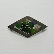 Art Nouveau Enameled Thistle Large Sterling Brooch