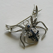 Art Deco Knoll Pregizer Paste Spider 935 Silver Brooch