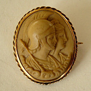 Tiny Rare Antique Lava Cameo Pin - God Mars and Goddess Venus