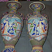 Satsuma/Moriage Pair of Signed Vases W/ Figures/Dragon Handles-Meiji Period