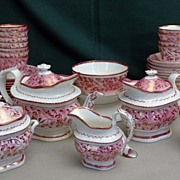 19th Century English Pink and Copper Luster Tea Service