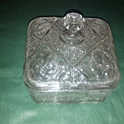 REDUCED Rayed Flower square jar with lid