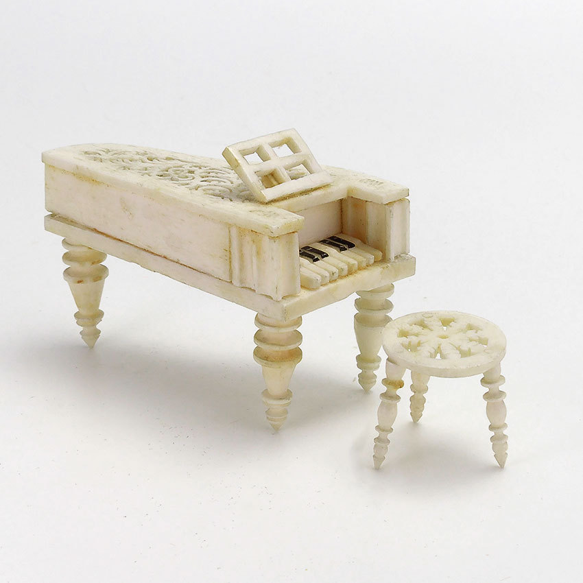 Dollhouse Miniatures Victoria Bc: Antique Miniature Carved Bone Piano And Stool From