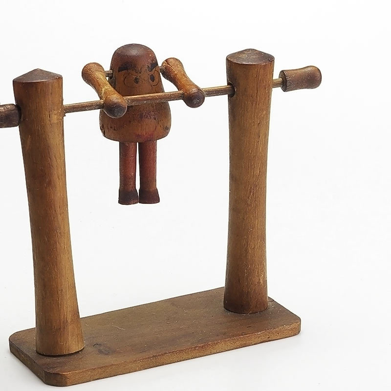 Japanese Wooden Toys : Vintage japanese wooden spinning acrobat toy from