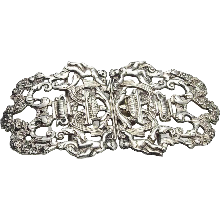 Austro hungarian sterling silver buckle with cherubs for Vancouver island jewelry designers