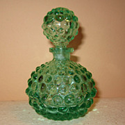Vintage green hobnail perfume bottle