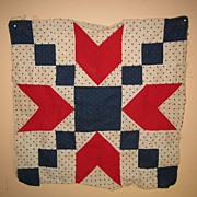 Vintage red white blue polka dot quilt square block