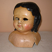 Antique turned head wax over paper mache doll head parts