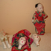 Vintage Gofun dollhouse oriental dolls parts open mouth head