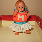 Vintage miniature plastic German doll suitcase