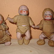 3 German dollhouse bisque babies bottle