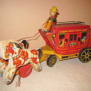 Vintage wood  Fisher Price Stagecoach pull toy #175