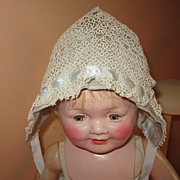 Vintage doll baby tatted bonnet hat
