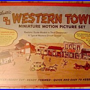 1950 C&B Western Town Motion Picture Play Set Unpunched MIB