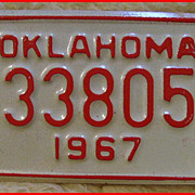 1967 Motorcycle License Plate Oklahoma - Unused