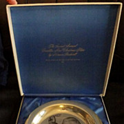 1971 Franklin Mint Sterling Silver Christmas Plate by Norman Rockwell Under Mistletoe