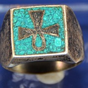 Vintage Rustic Mexico Sterling Ring with Religious Cross and Turquoise Inlay Size 11