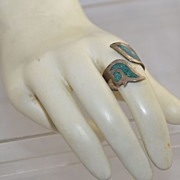Mexican Mayan Sterling Ring Plata Sterling 925 Floral Inlay or Inlaid Turquoise