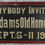 SALE Antique Hand Painted New England Trade Sign Old Home Week 1909 Berkshire