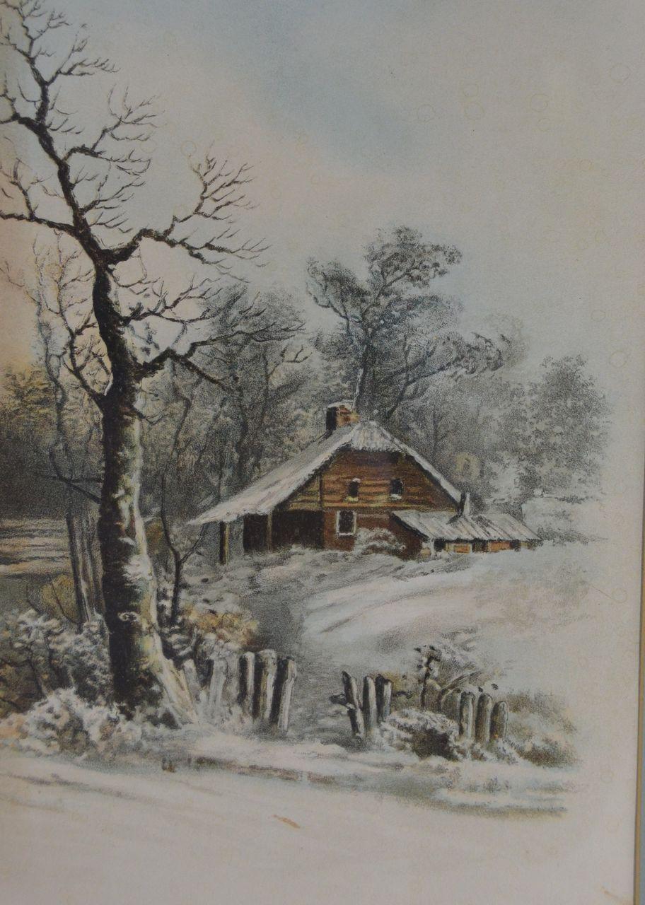 Vintage Snow Scenes Vintage framed snow landscape