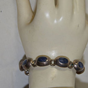 SALE Heavy Woman�s Sterling Bracelet with Blue Cabochon Solid Taxco Jewelry Signed 925