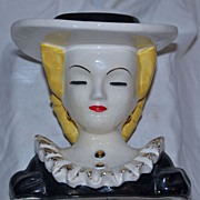 SALE Lovely Head Vase of Woman Wearing a Hat Thames England
