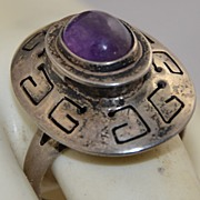 SALE Vintage Mexico Sterling Poison Ring with Amethyst by Beto