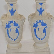 SALE Pair of Antique Vases White with Greek Design and Grape Vines Blue Jasper Ware