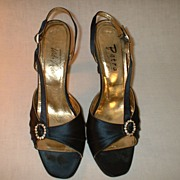 Lord and Taylor Blue Satin Evening Pumps 1980�s