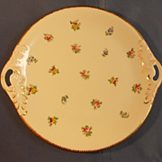 China Cake Platter with Flowers and Gold Trim