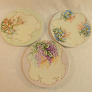 3 Hand Painted Bavarian Porcelain Plates
