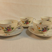 Four Bavarian Cup and Saucers