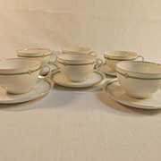 Six Hutschenreuther Cup and Saucers Louise Pattern