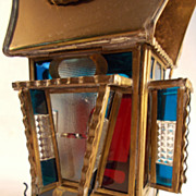 Indonesian Brass and Stained Glass Carriage Kerosene Lamp